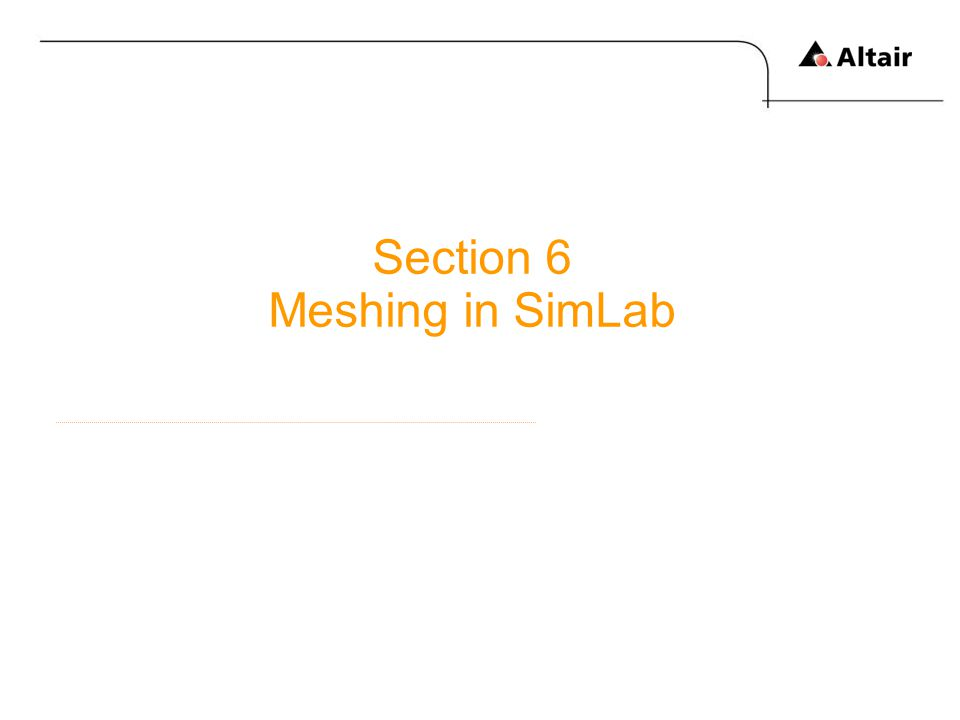 Section 6 Meshing in SimLab