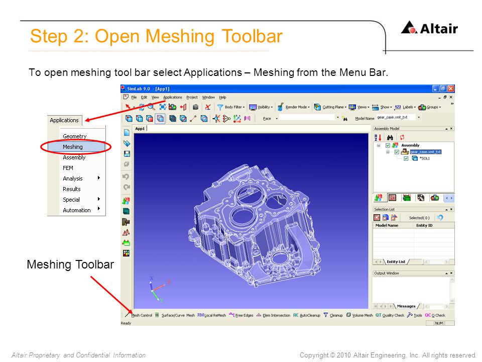 Step 2: Open Meshing Toolbar
