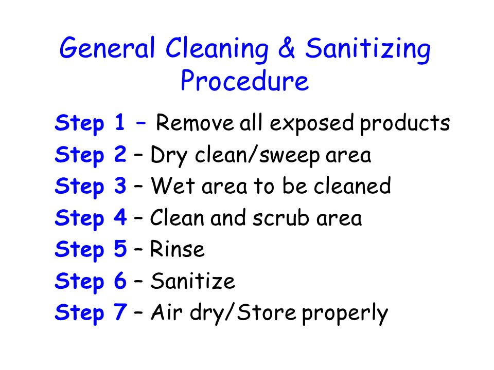 General Cleaning & Sanitizing Procedure