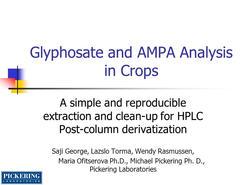 Glyphosate and AMPA Analysis in Crops