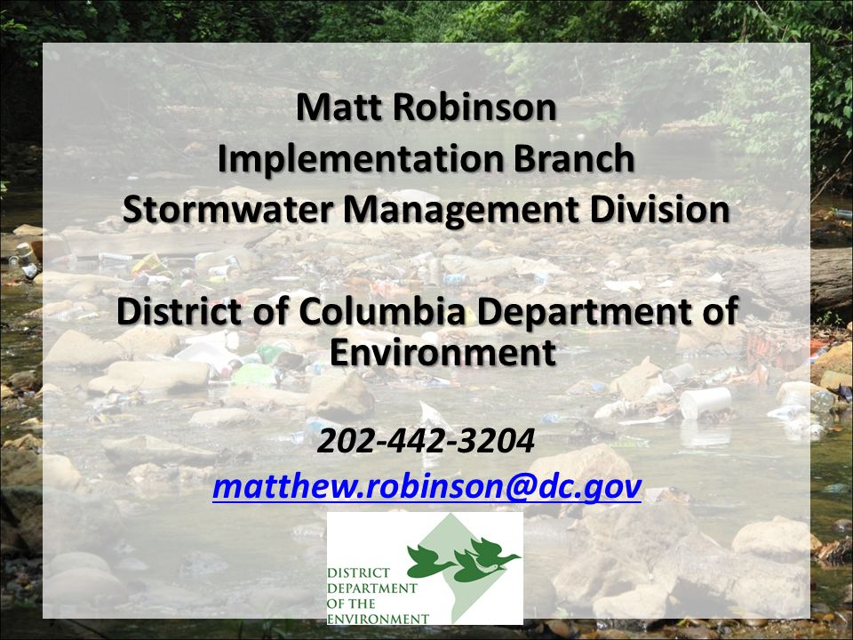 Implementation Branch Stormwater Management Division