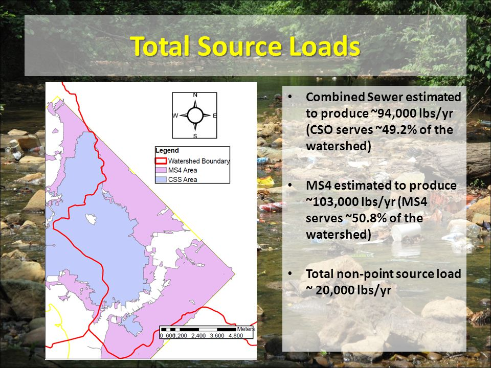 Total Source Loads Combined Sewer estimated to produce ~94,000 lbs/yr (CSO serves ~49.2% of the watershed)