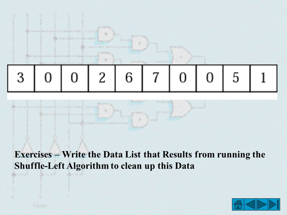 Exercises – Write the Data List that Results from running the Shuffle-Left Algorithm to clean up this Data