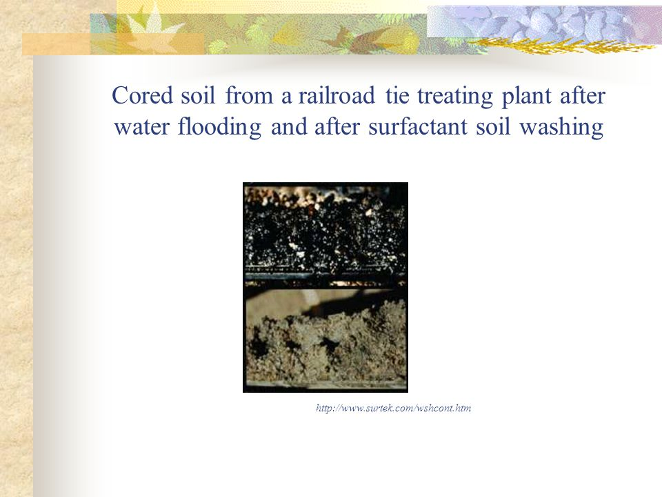 Cored soil from a railroad tie treating plant after water flooding and after surfactant soil washing