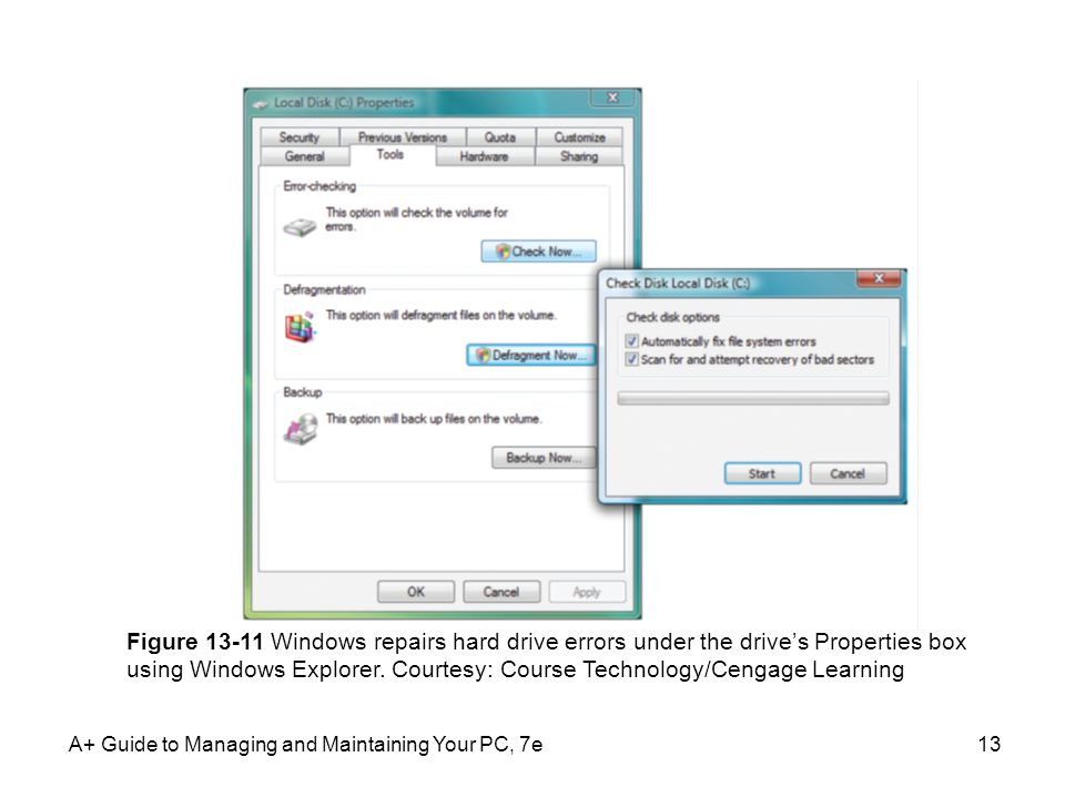 Figure 13-11 Windows repairs hard drive errors under the drive's Properties box using Windows Explorer. Courtesy: Course Technology/Cengage Learning