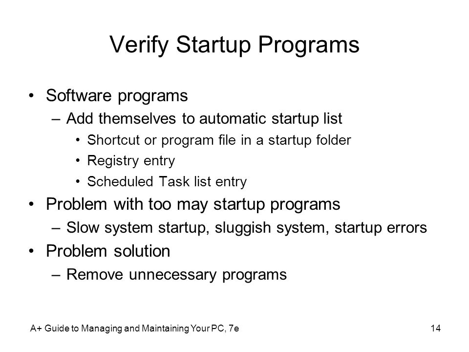 Verify Startup Programs