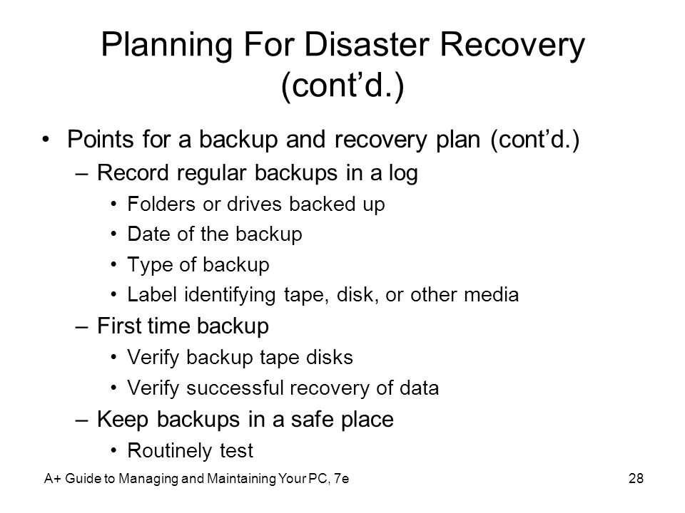Planning For Disaster Recovery (cont'd.)