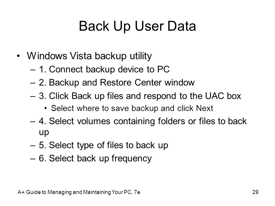 Back Up User Data Windows Vista backup utility