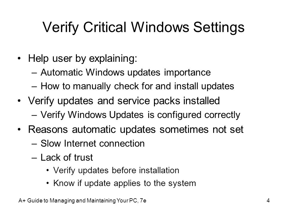 Verify Critical Windows Settings