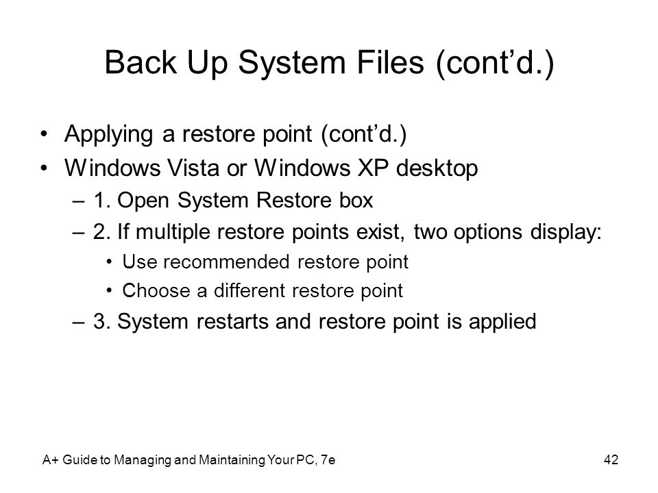 Back Up System Files (cont'd.)