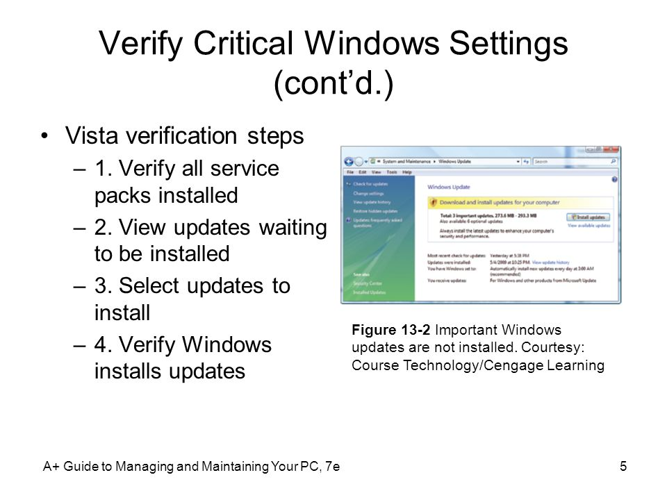 Verify Critical Windows Settings (cont'd.)