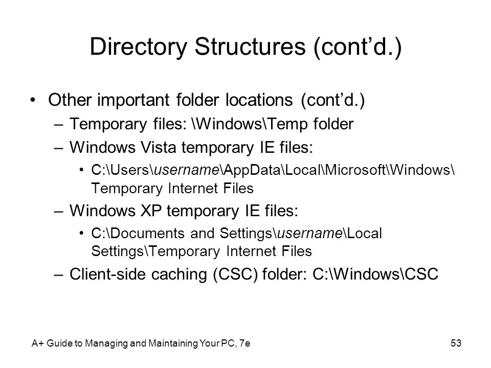 Directory Structures (cont'd.)