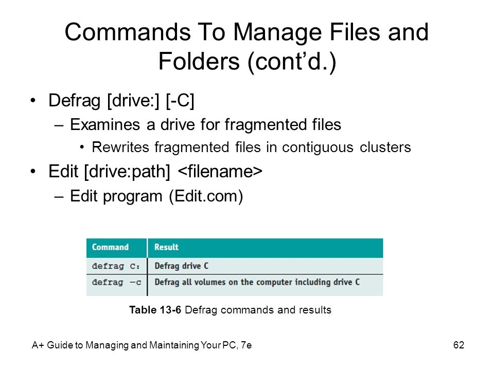 Commands To Manage Files and Folders (cont'd.)