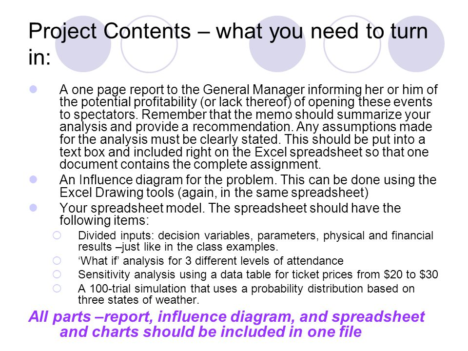 Project Contents – what you need to turn in: