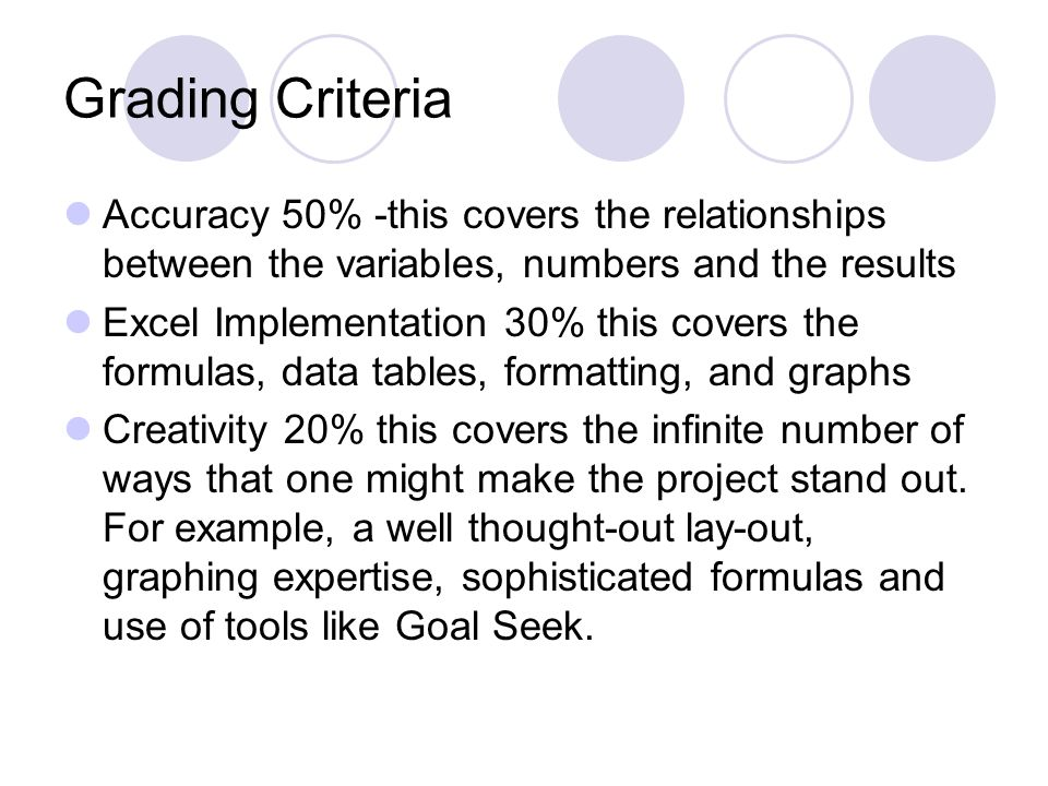 Grading Criteria Accuracy 50% -this covers the relationships between the variables, numbers and the results.