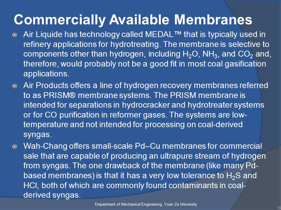 Commercially Available Membranes