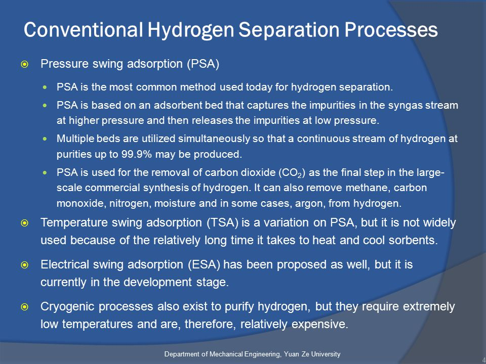 Conventional Hydrogen Separation Processes