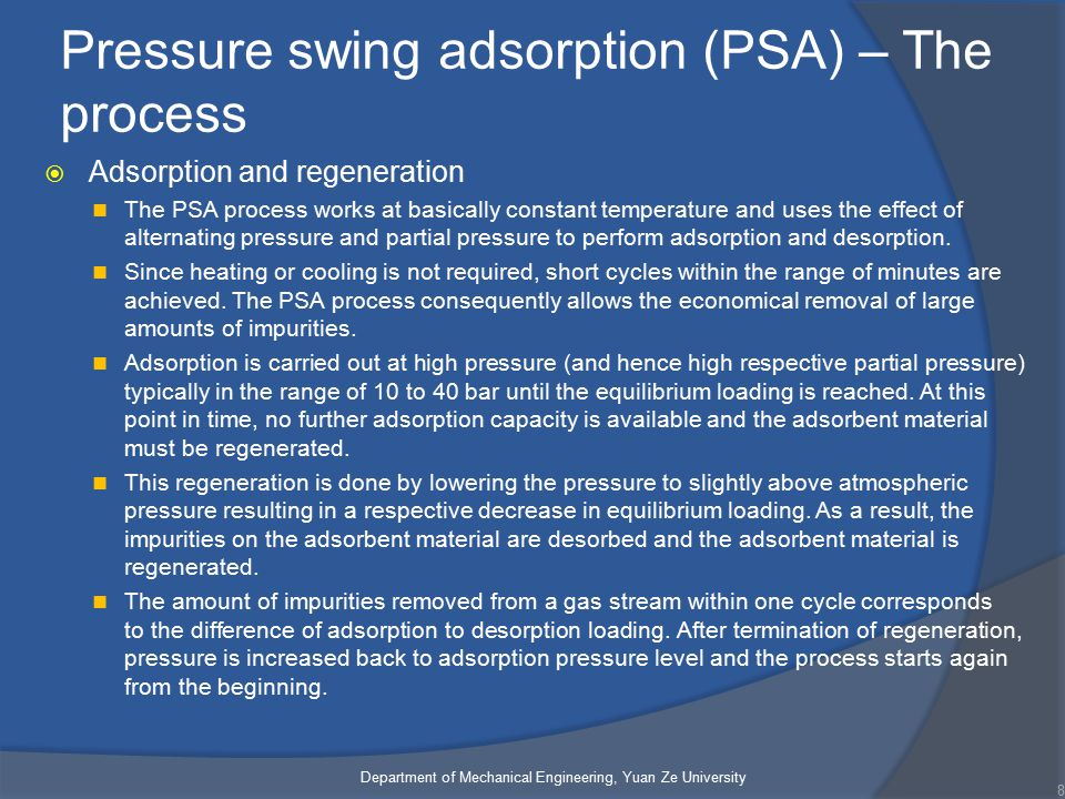 Pressure swing adsorption (PSA) – The process