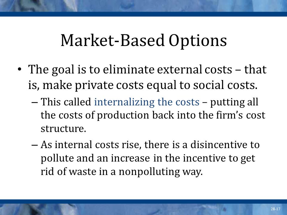 Market-Based Options The goal is to eliminate external costs – that is, make private costs equal to social costs.