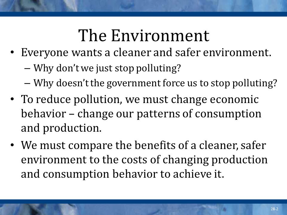 The Environment Everyone wants a cleaner and safer environment.