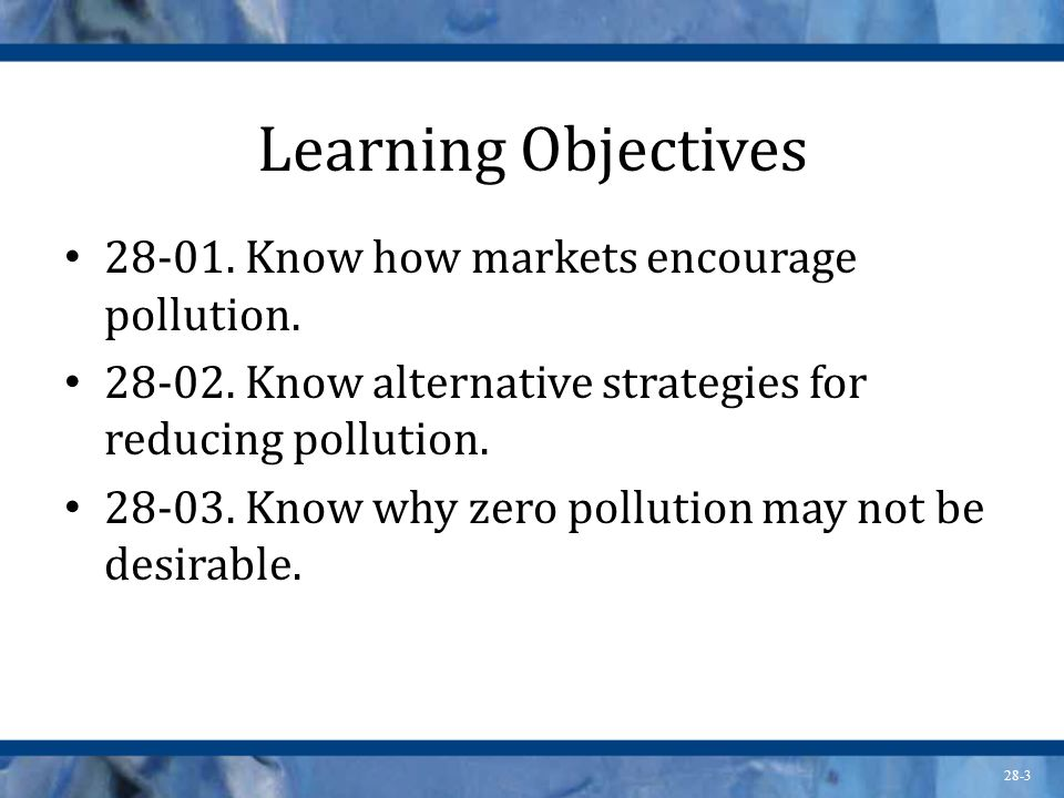 Learning Objectives 28-01. Know how markets encourage pollution.