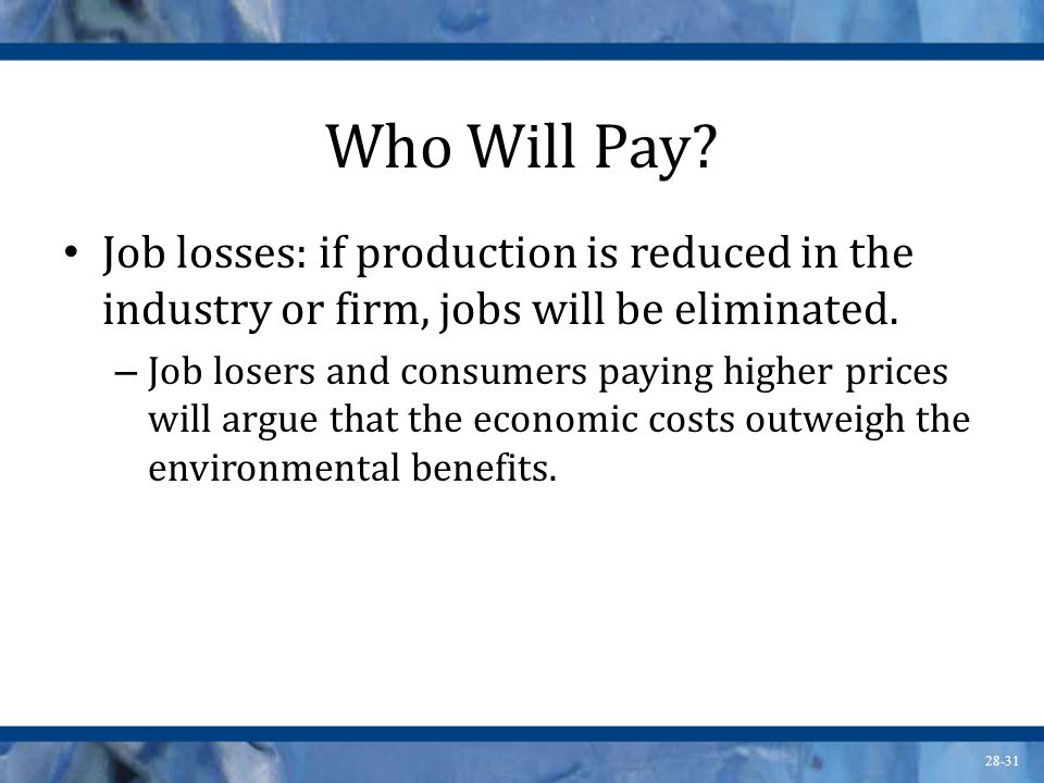 Who Will Pay Job losses: if production is reduced in the industry or firm, jobs will be eliminated.