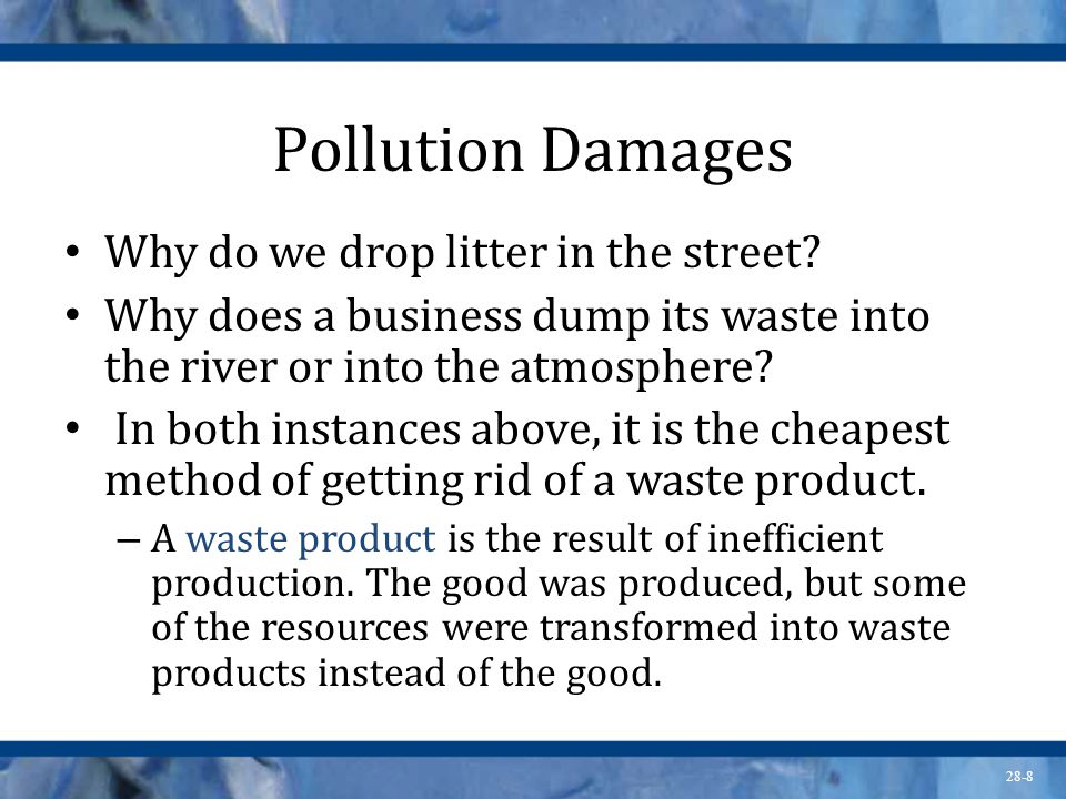 Pollution Damages Why do we drop litter in the street