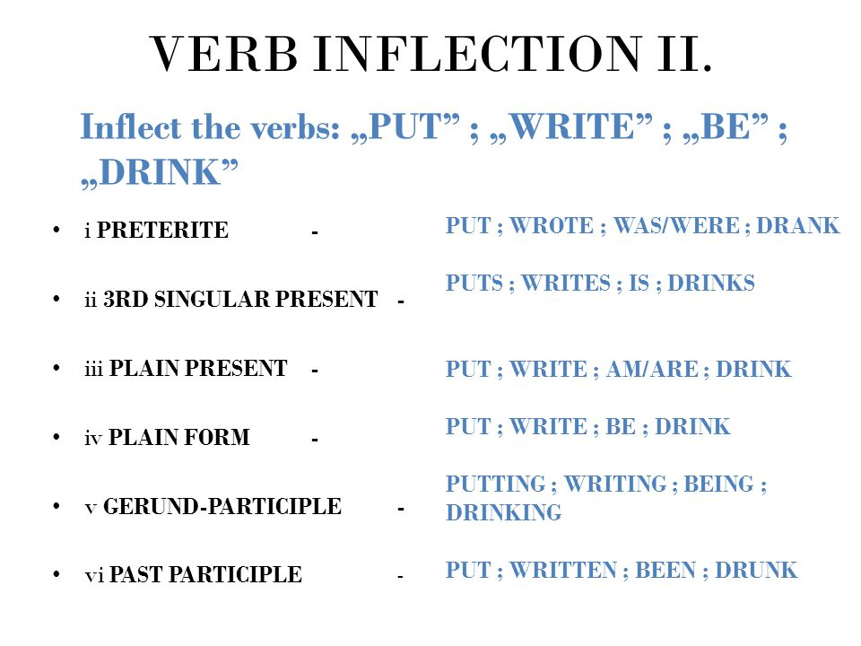 """VERB INFLECTION II. Inflect the verbs: """"PUT ; """"WRITE ; """"BE ; """"DRINK i Preterite - ii 3rd singular present -"""