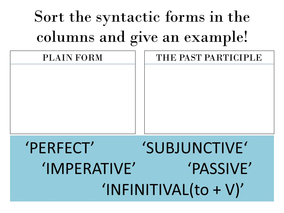 Sort the syntactic forms in the columns and give an example!