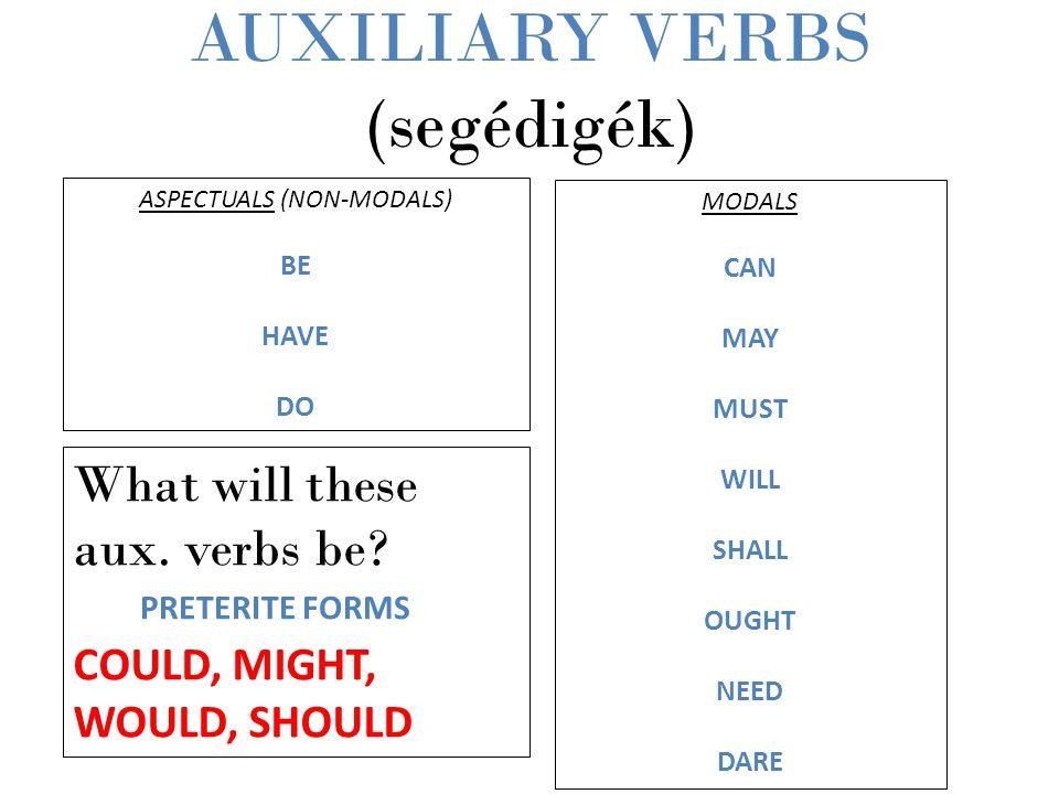 AUXILIARY VERBS (segédigék)
