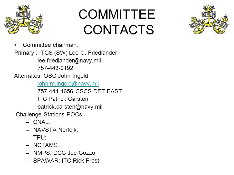COMMITTEE CONTACTS Committee chairman: