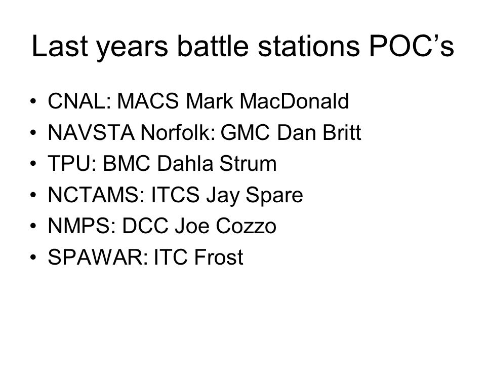Last years battle stations POC's