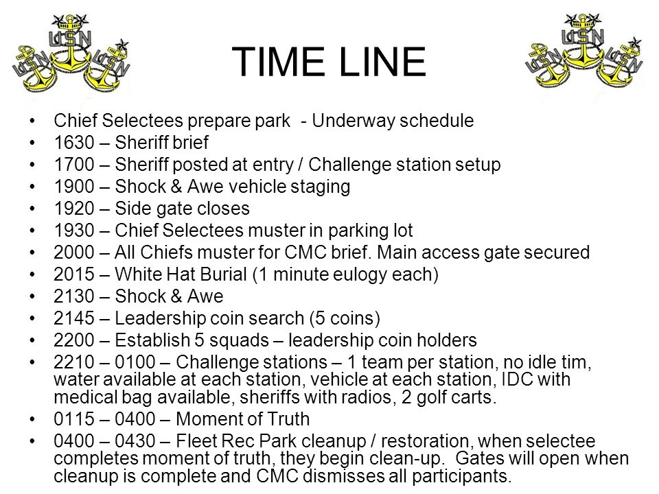 TIME LINE Chief Selectees prepare park - Underway schedule