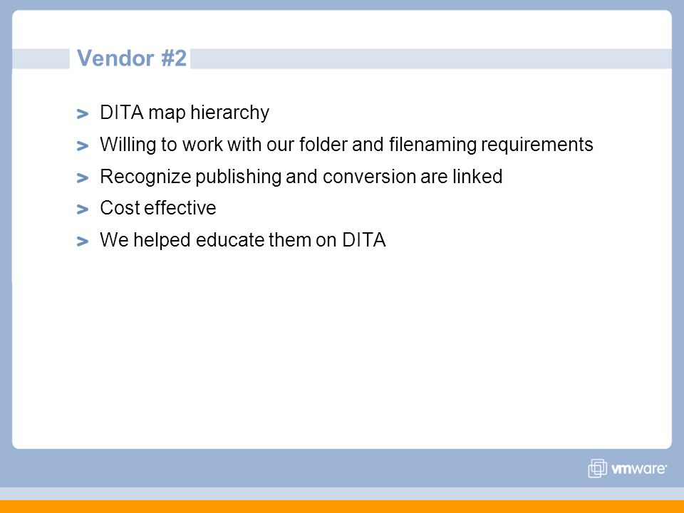 Vendor #2 DITA map hierarchy