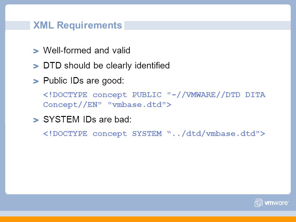 XML Requirements Well-formed and valid