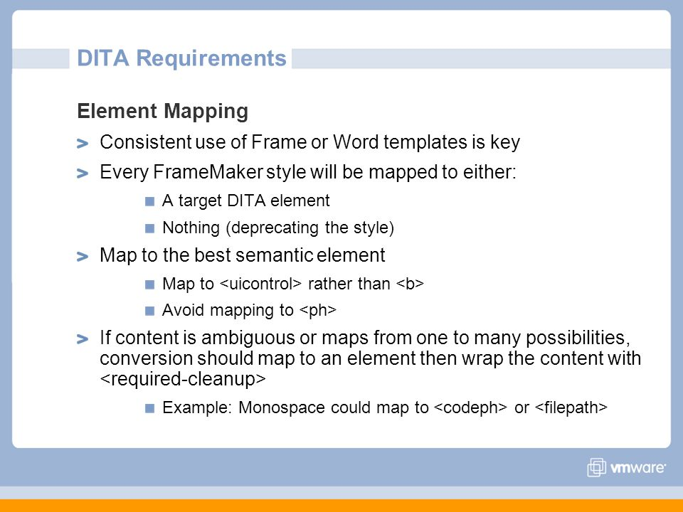 DITA Requirements Element Mapping