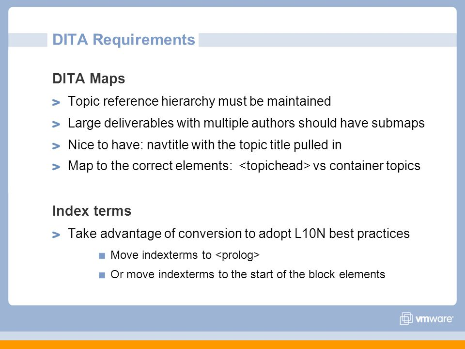 DITA Requirements DITA Maps Index terms