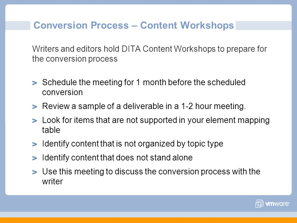Conversion Process – Content Workshops