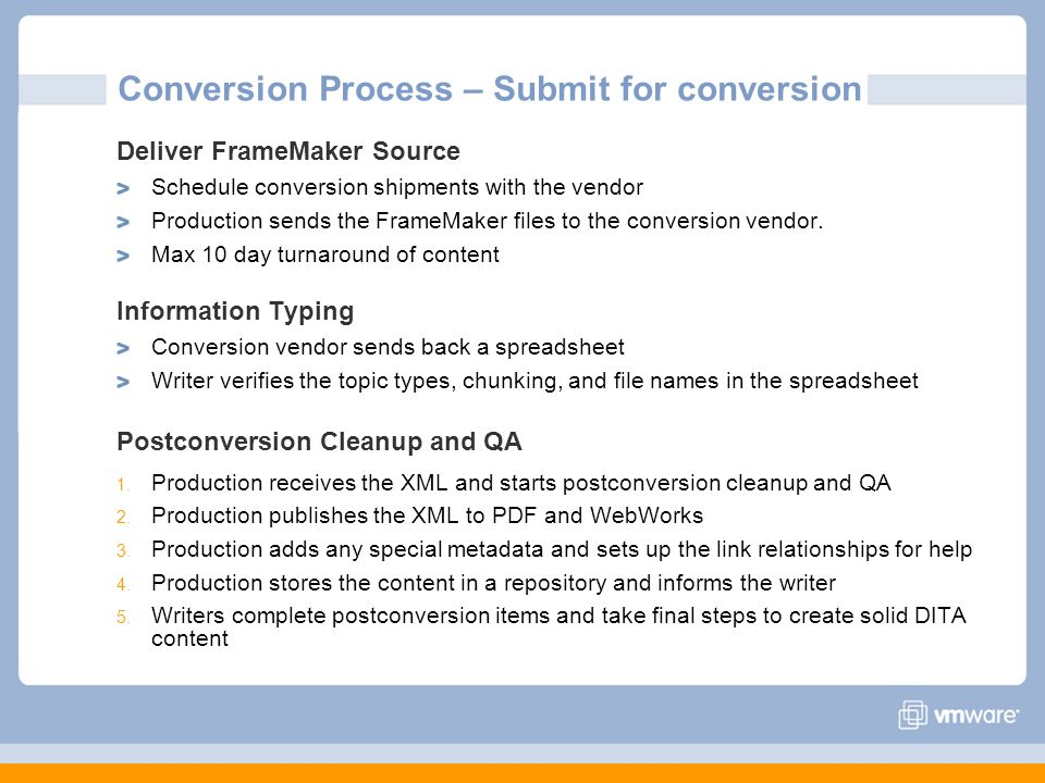 Conversion Process – Submit for conversion