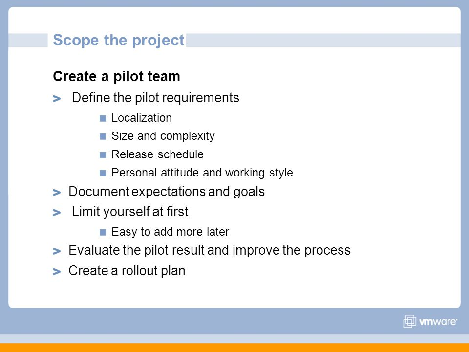 Scope the project Create a pilot team Define the pilot requirements
