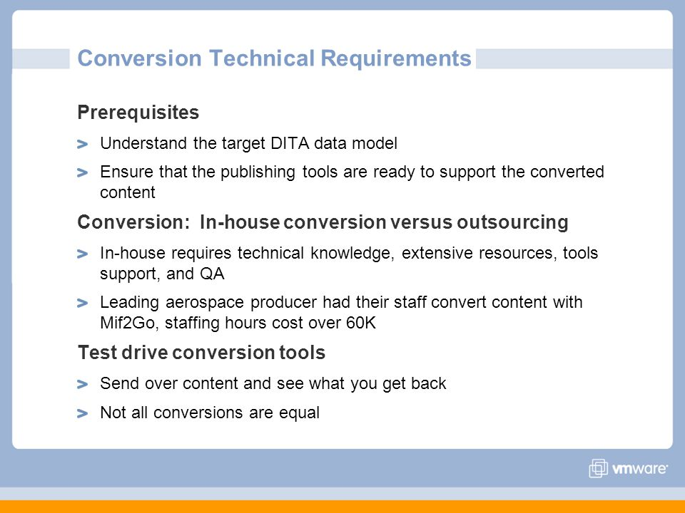Conversion Technical Requirements