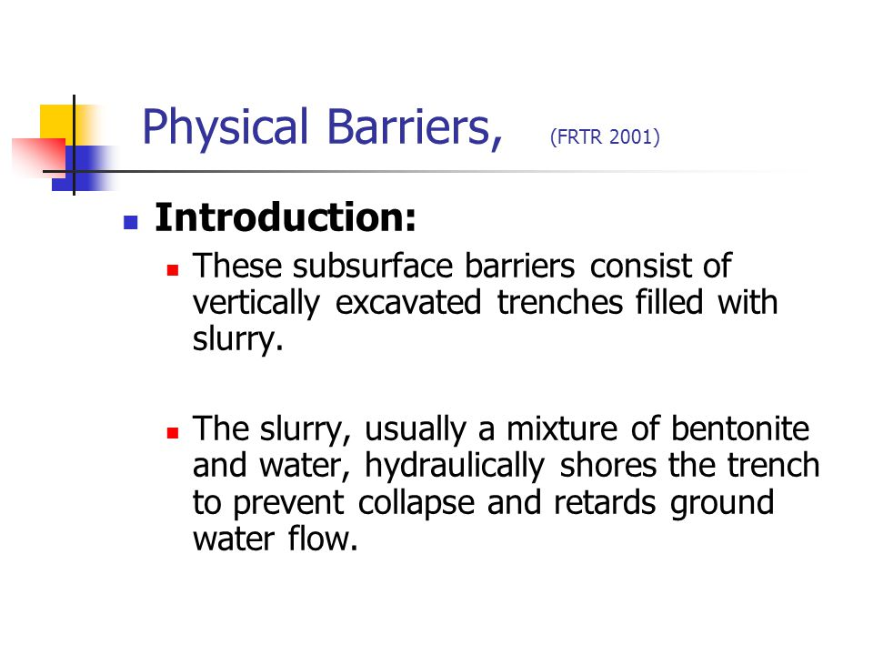 Physical Barriers, (FRTR 2001)