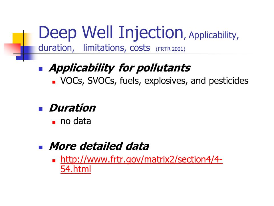 Applicability for pollutants