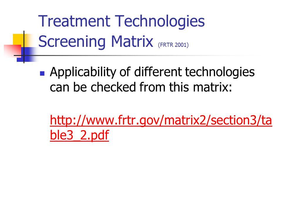 Treatment Technologies Screening Matrix (FRTR 2001)
