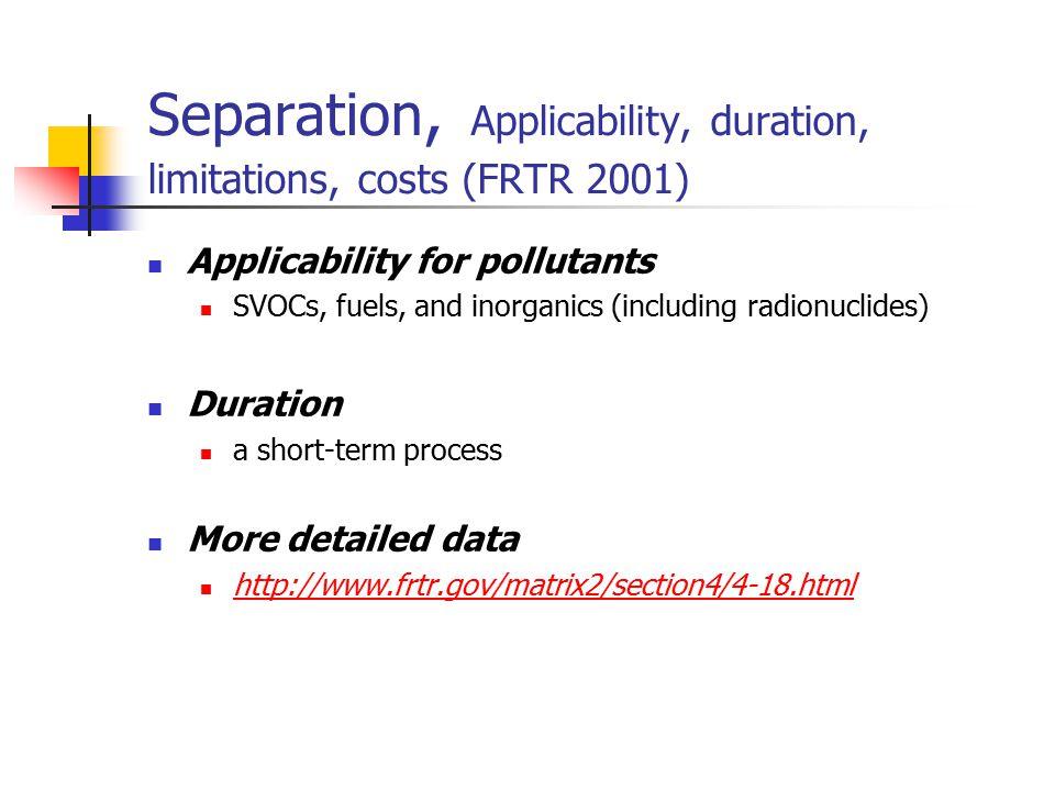 Separation, Applicability, duration, limitations, costs (FRTR 2001)