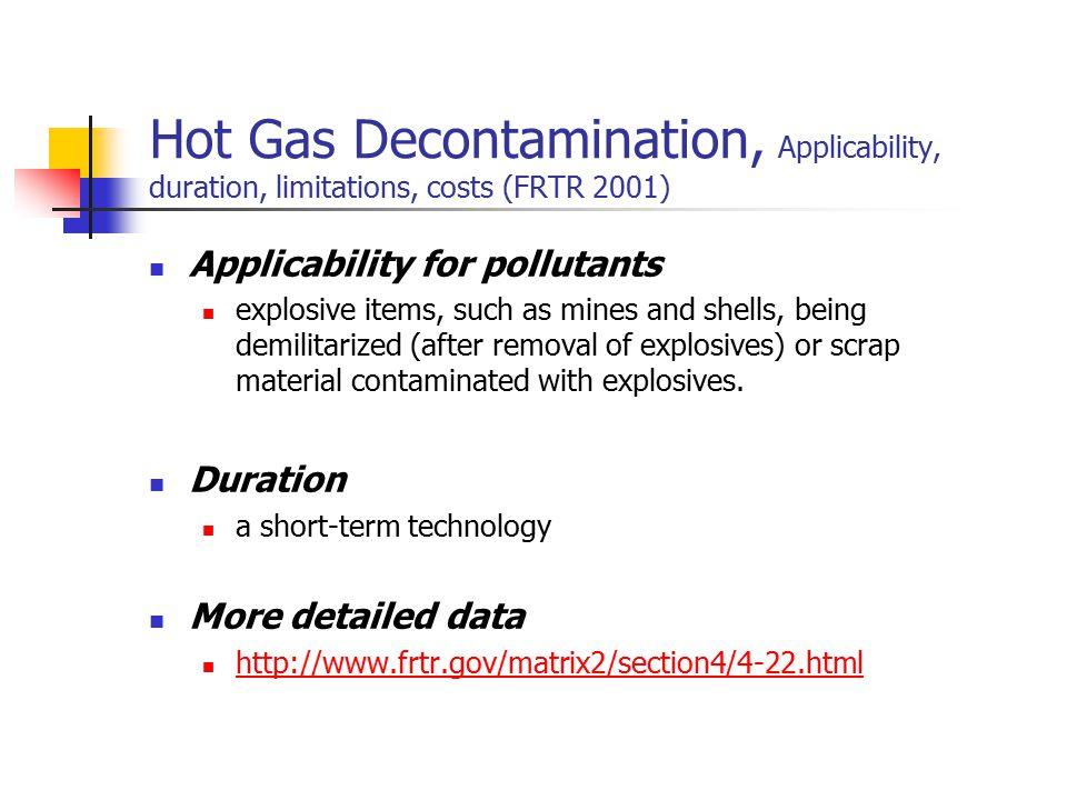 Hot Gas Decontamination, Applicability, duration, limitations, costs (FRTR 2001)