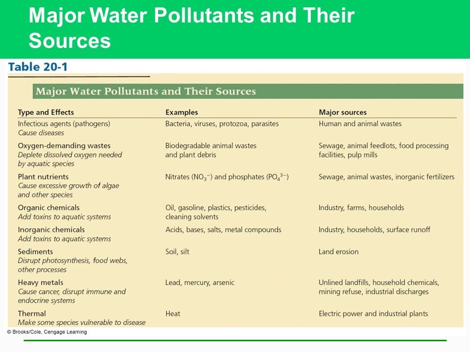 Major Water Pollutants and Their Sources