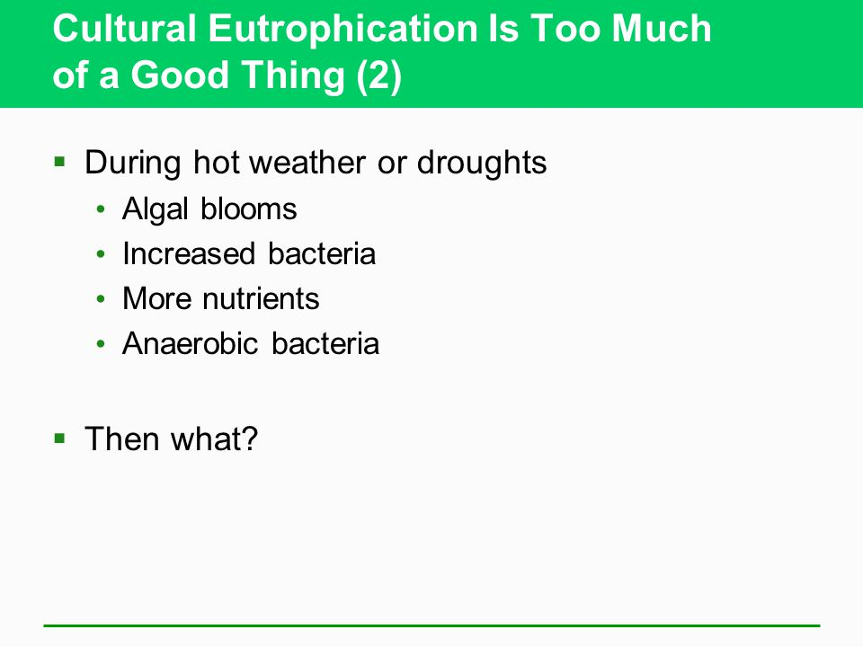 Cultural Eutrophication Is Too Much of a Good Thing (2)