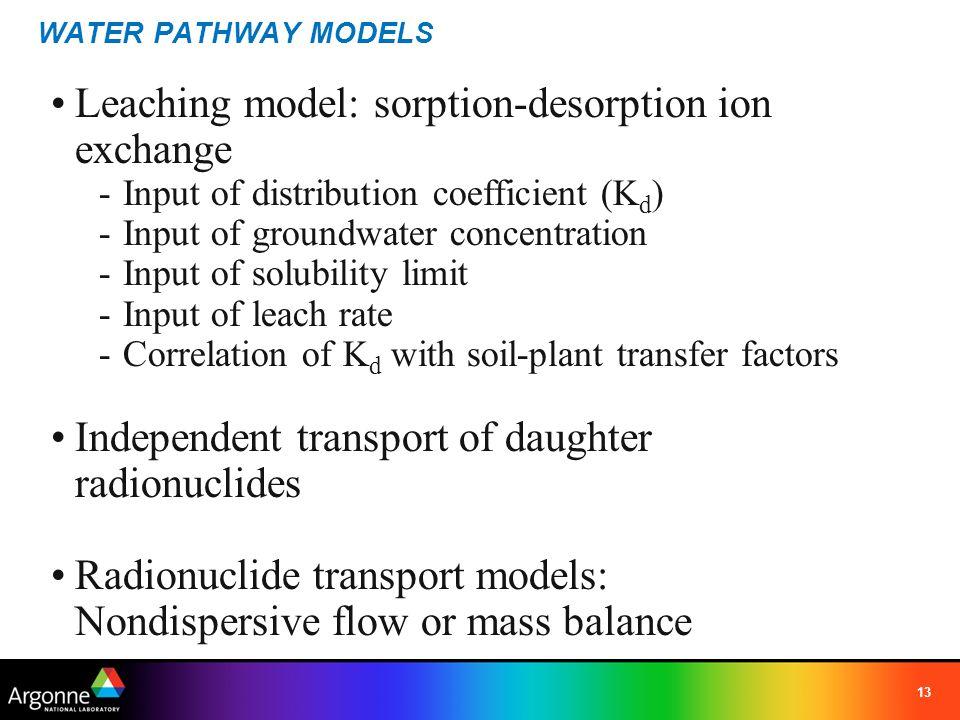 Leaching model: sorption-desorption ion exchange