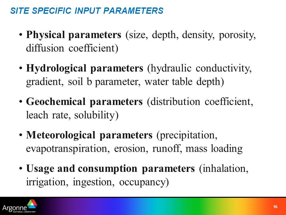 SITE SPECIFIC INPUT PARAMETERS